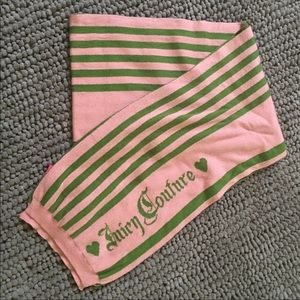 Juicy Couture Pink & Green Striped Scarf